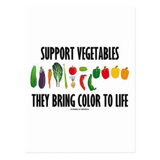 Las verduras de la ayuda traen color a la vida postal