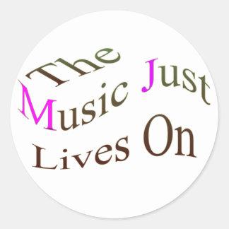Las vidas de la música apenas encendido pegatinas redondas