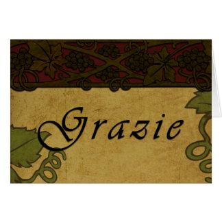 Las vides de uva de Grazie - gracias cardar Tarjeton