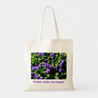 ¡Las violetas me hacen feliz! Bolsa Tela Barata