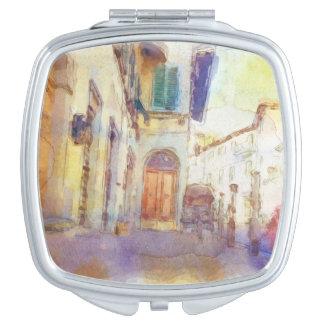 Las vistas de Florencia hicieron en acuarela artís Espejos De Maquillaje