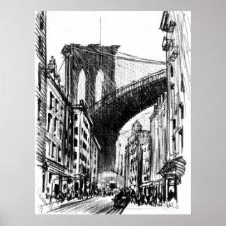 Las viviendas acercan al puente de Brooklyn 1909 Póster