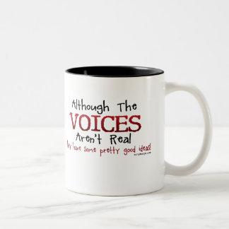 Las voces no son refrán divertido real taza de café de dos colores