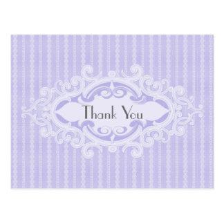 Las volutas y las cintas púrpuras le agradecen postales