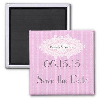 Las volutas y las cintas rosadas ahorran la fecha imanes