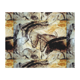 Lascaux Cave Painting of Horses on Canvas