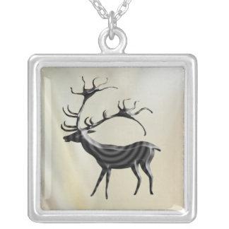 Lascaux Deer Square Pendant Necklace