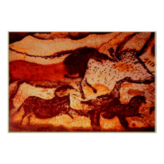 Lascaux Horses and a Bull Poster