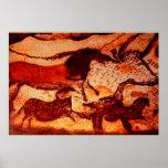Lascaux Horses and a Bull Print