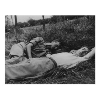 Lascivious young male couple napping gay interest postcard