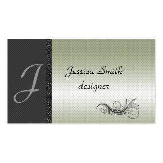 Lase elegante de las rayas discretas gris oscuro tarjetas de visita