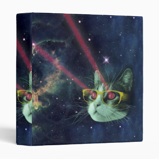 Laser cat with glasses in space 3 ring binder