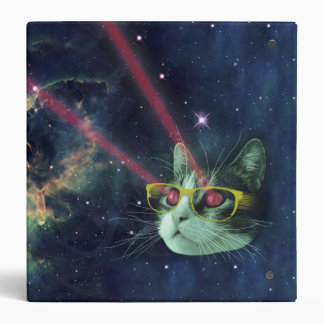 Laser cat with glasses in space binder