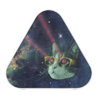 Laser cat with glasses in space bluetooth speaker