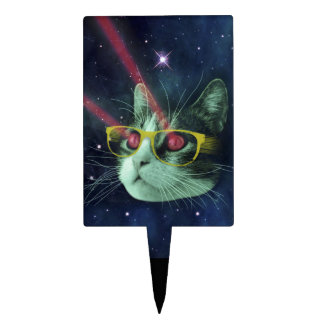 Laser cat with glasses in space cake topper