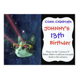Laser cat with glasses in space card