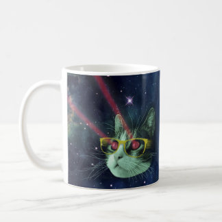 Laser cat with glasses in space coffee mug