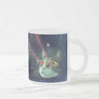 Laser cat with glasses in space frosted glass coffee mug