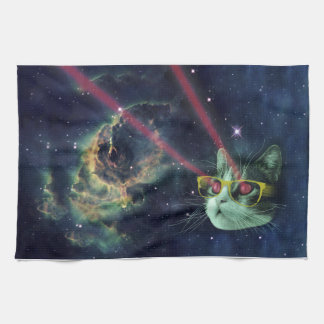Laser cat with glasses in space hand towel