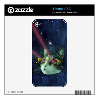 Laser cat with glasses in space iPhone 4 decal