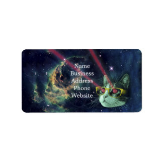 Laser cat with glasses in space label