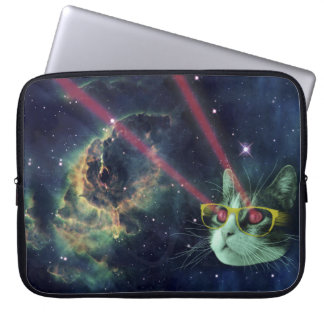 Laser cat with glasses in space laptop sleeve