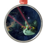 Laser cat with glasses in space metal ornament
