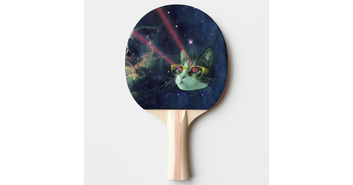 Laser cat with glasses in space ping pong paddle zazzle - How much space for a ping pong table ...