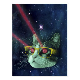 Laser cat with glasses in space postcard