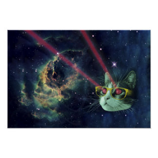 Laser cat with glasses in space poster