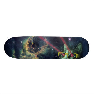 Laser cat with glasses in space skateboard deck