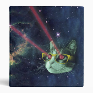Laser cat with glasses in space vinyl binders