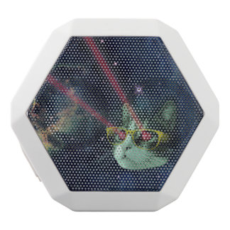 Laser cat with glasses in space white bluetooth speaker