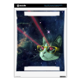 Laser cat with glasses in space xbox 360 console skin