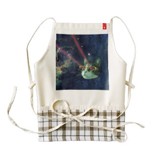 Laser cat with glasses in space zazzle HEART apron