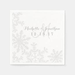 Laser Cut Silver Snowflakes Winter Wedding Napkin