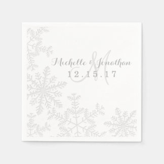 Laser Cut Silver Snowflakes Winter Wedding Napkin