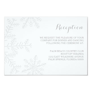 Laser-Cut Snowflakes Elegant Winter Reception Card
