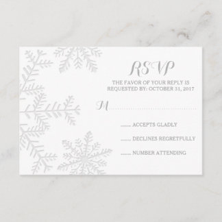 Laser-Cut Snowflakes Elegant Winter Wedding RSVP