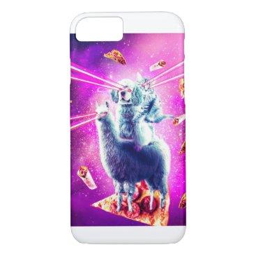 Laser Eyes Space Cat Riding Dog, Llama - Rainbow iPhone 8/7 Case