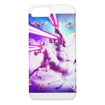 Laser Eyes Space Cat Riding Dog, Unicorn - Rainbow iPhone 8/7 Case