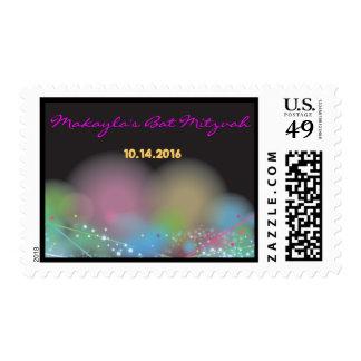 LASER GLOW in the DARK Bat Mitzvah Postage Stamp