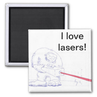 Laser Ogre with Goggles Cartoon Magnet