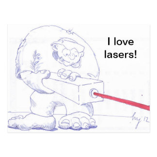 Laser Ogre with Goggles Cartoon Postcard