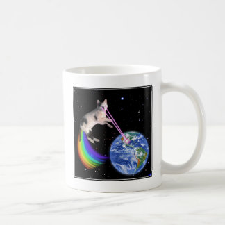 Laser Rainbow Space Cat Classic White Coffee Mug