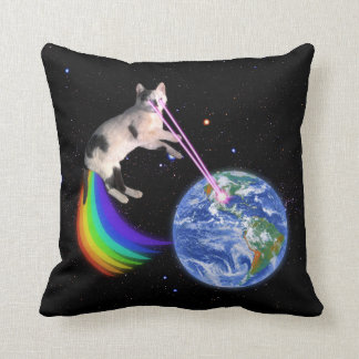 Laser Rainbow Space Cat Throw Pillows
