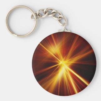 Laser rojo y del naranja Starburst Llavero Personalizado