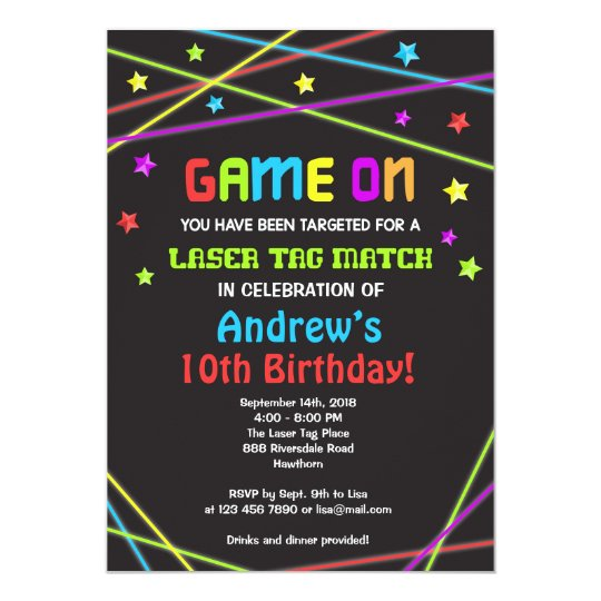 Laser Tag Birthday Invitation Laser Tag Invite Zazzle Com