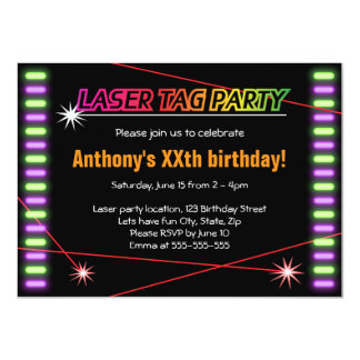 Laser tag birthday party cool black card
