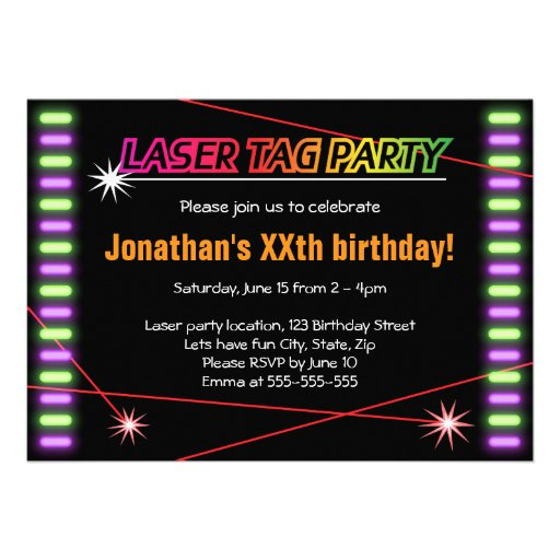 Laser Tag Party Invitations and get inspiration to create nice invitation ideas